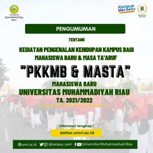 PENGUMUMAN KEGIATAN PKKMB DAN MASTA MAHASISWA BARU UMRI TA.2021/2022