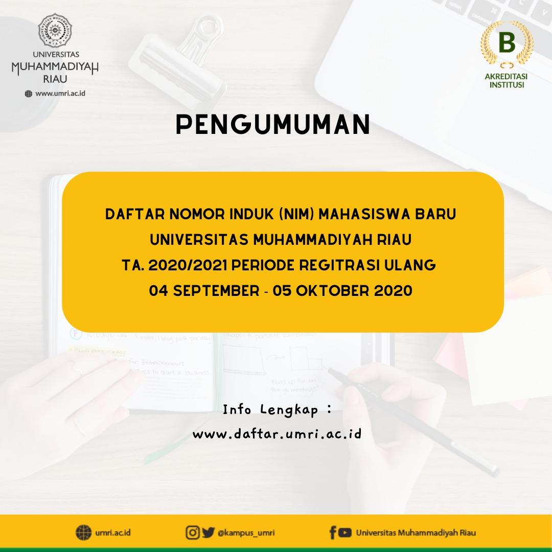 Daftar Nomor Induk Mahasiswa Baru Universitas Muhammadiyah Riua TA. 2020/2021